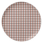 Gingham check pattern. Gray, Brown and White Dinner Plates