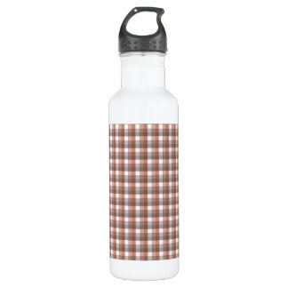 Gingham check pattern. Gray, Brown and White Water Bottle