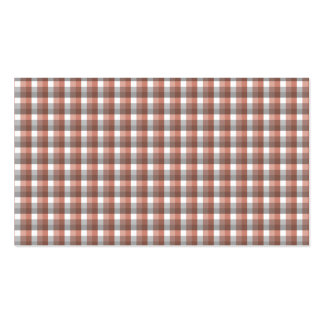Gingham check pattern. Gray, Red - Brown and White Business Cards