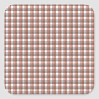 Gingham check pattern. Gray, Red - Brown and White Square Sticker