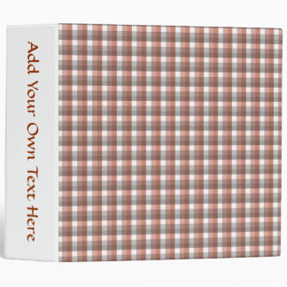 Gingham check pattern. Gray, Red - Brown White Binder