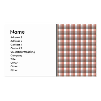 Gingham check pattern. Gray, Red - Brown White Business Card