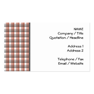 Gingham check pattern. Gray, Red - Brown White Business Card Template