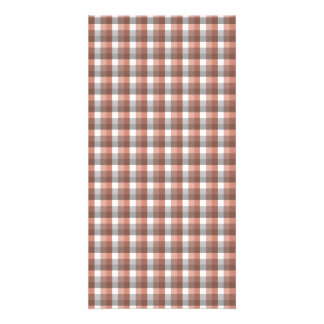 Gingham check pattern. Gray, Red - Brown White Card