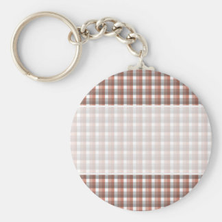 Gingham check pattern. Gray, Red - Brown White Keychain