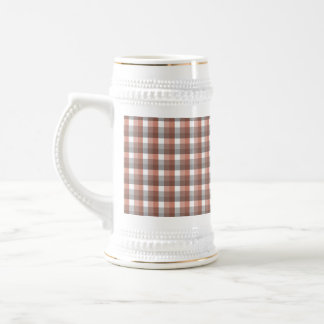 Gingham check pattern. Gray, Red - Brown White 18 Oz Beer Stein