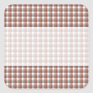 Gingham check pattern. Gray, Red - Brown White Square Sticker