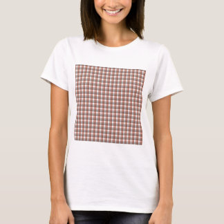 Gingham check pattern. Gray, Red - Brown White T-Shirt