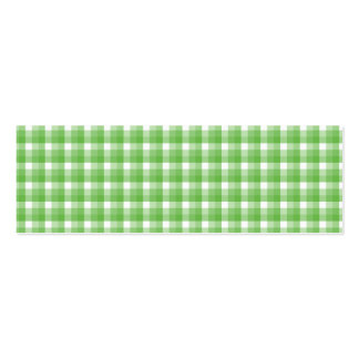 Gingham check pattern. Green and White. Mini Business Card