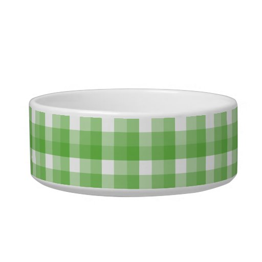 Gingham check pattern. Green and White. Cat Food Bowl