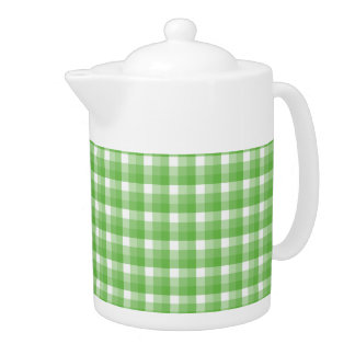Gingham check pattern. Green and White. Teapot
