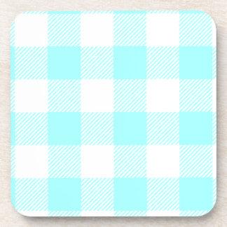 Gingham Check Pattern (light blue) Drink Coaster