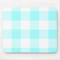 Gingham Check Pattern (light blue) Mouse Pad