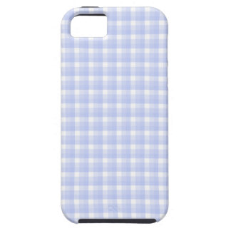 Gingham check pattern. Light Blue & White. iPhone 5 Cases