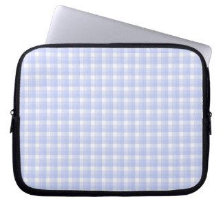 Gingham check pattern. Light Blue & White. Computer Sleeve