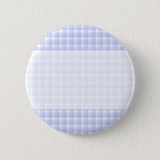 Gingham check pattern. Light Blue & White. Pinback Button