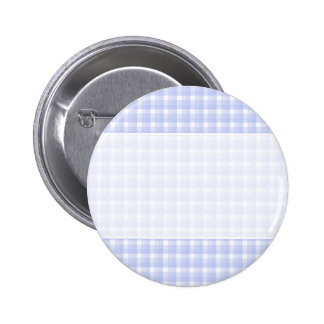 Gingham check pattern. Light Blue & White. Pinback Button