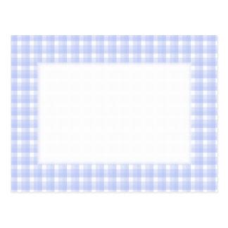 Gingham check pattern. Light Blue & White. Postcard