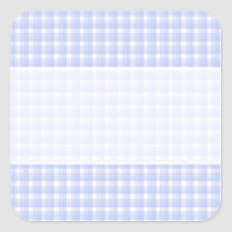Gingham check pattern. Light Blue & White. Square Sticker