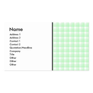 Gingham check pattern. Light Green and White. Business Card
