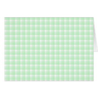 Gingham check pattern. Light Green and White. Card