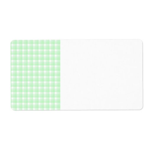 Gingham check pattern. Light Green and White. Label