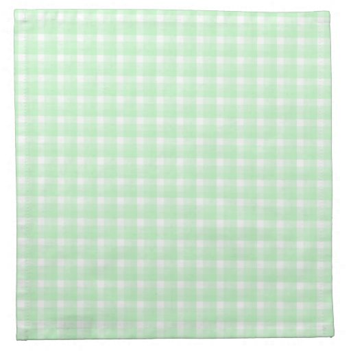 Gingham check pattern. Light Green and White. Napkin | Zazzle