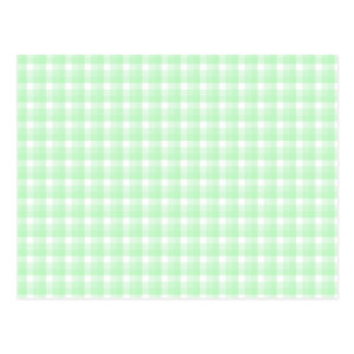 Gingham check pattern. Light Green and White. Postcard