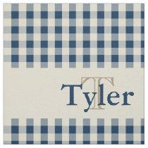 Gingham Check Pattern Monogram Custom Boy's Fabric