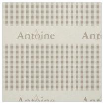 Gingham Check Pattern Monogram Khaki Sand Beige Fabric