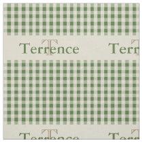 Gingham Check Pattern Monogram Sage Green Boys Fabric