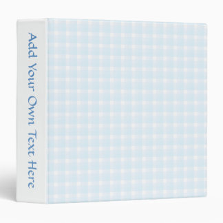 Gingham check pattern. Pale Blue and White. Binder
