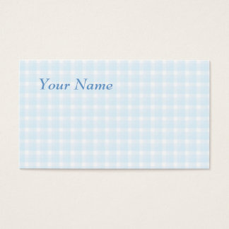 Gingham check pattern. Pale Blue and White. Business Card