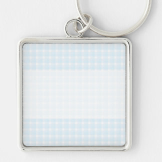 Gingham check pattern. Pale Blue and White. Keychain