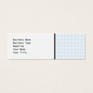 Gingham check pattern. Pale Blue and White. Mini Business Card