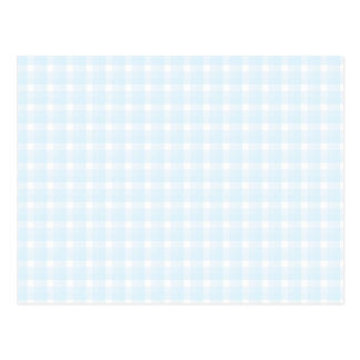 Gingham check pattern. Pale Blue and White. Postcard