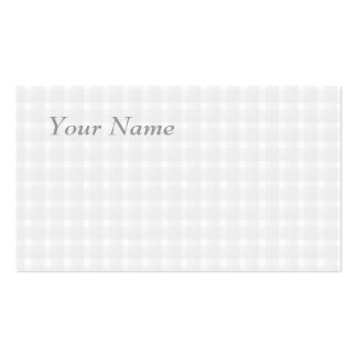 Gingham check pattern. Pale Gray and White. Business Card