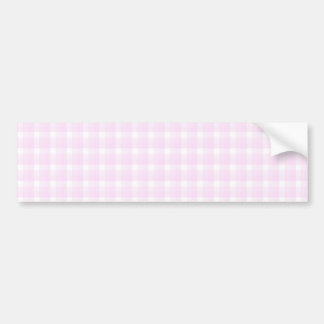 Gingham check pattern. Pale pink and white. Bumper Sticker