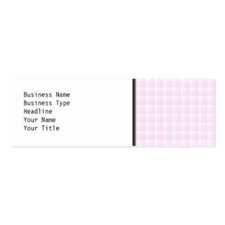 Gingham check pattern. Pale pink and white. Mini Business Card