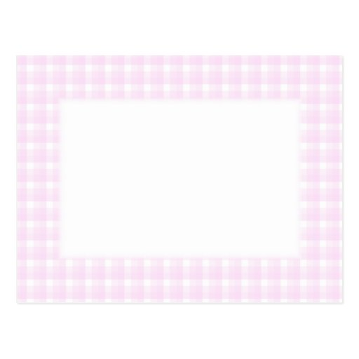 Gingham check pattern. Pale pink and white. Postcards