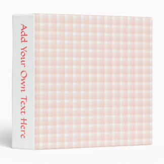 Gingham check pattern. Peach pink and white. Binder