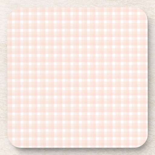 Gingham check pattern. Peach pink and white. Beverage Coaster