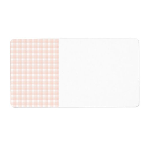 Gingham check pattern. Peach pink and white. Shipping Labels