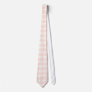 Gingham check pattern. Peach pink and white. Neck Tie