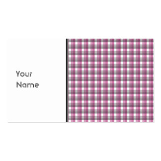 Gingham check pattern. Pink, Gray, and White. Business Card