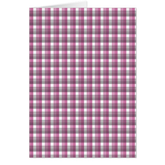 Gingham check pattern. Pink, Gray, and White. Card