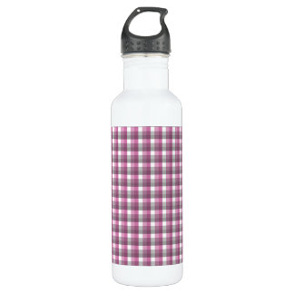 Gingham check pattern. Pink, Gray, and White. Water Bottle