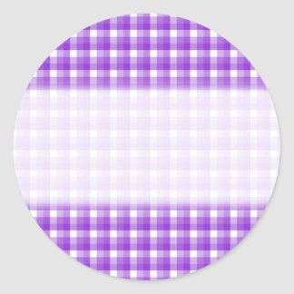 Gingham check pattern. Purple and White. Classic Round Sticker