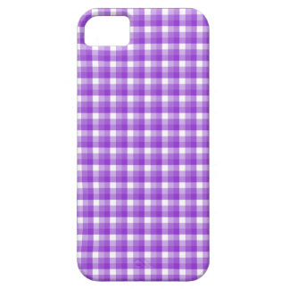 Gingham check pattern. Purple and White. iPhone SE/5/5s Case