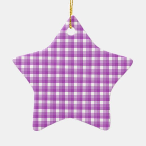 Gingham check pattern. Purple and White. Christmas Ornaments